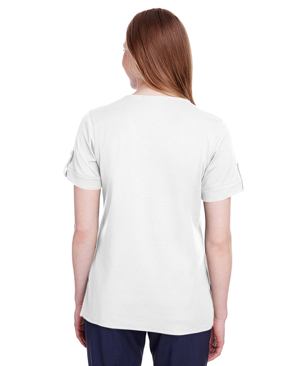 White - back, DG20WB Devon & Jones Ladies' CrownLux Performance™ Plaited Rolled-Sleeve Top | Blankclothing.ca