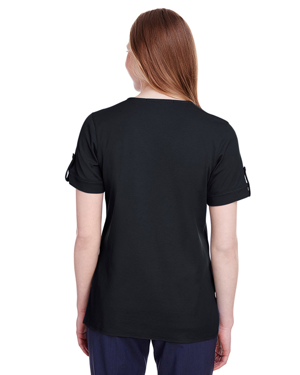 Black - back, DG20WB Devon & Jones Ladies' CrownLux Performance™ Plaited Rolled-Sleeve Top | Blankclothing.ca
