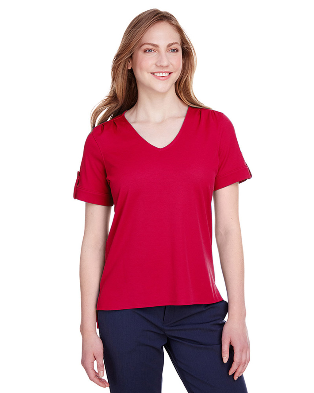 Red - DG20WB Devon & Jones Ladies' CrownLux Performance™ Plaited Rolled-Sleeve Top | Blankclothing.ca