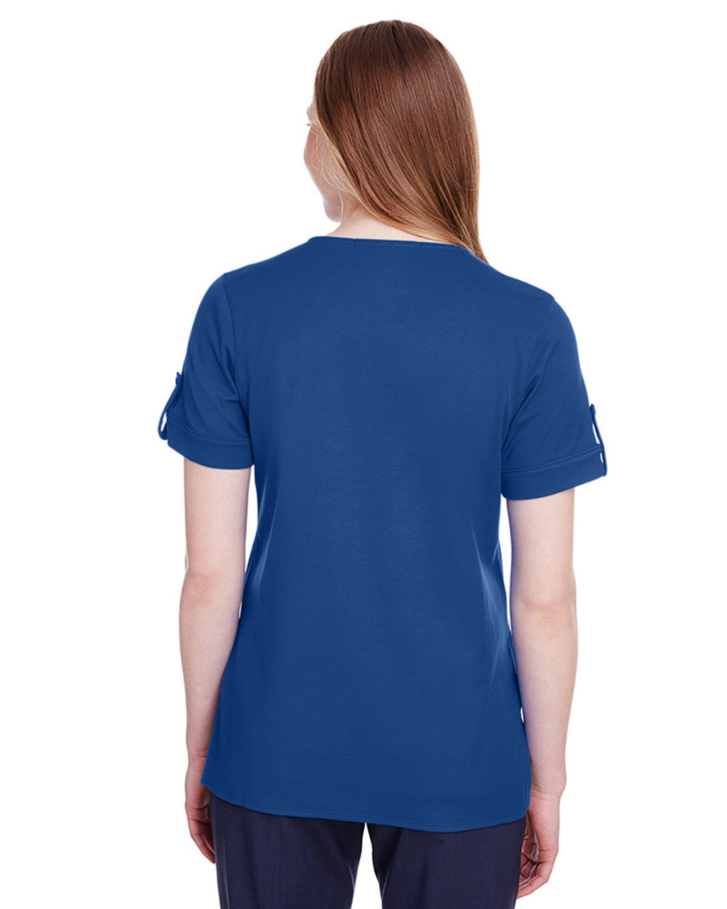 True Royal - back, DG20WB Devon & Jones Ladies' CrownLux Performance™ Plaited Rolled-Sleeve Top | Blankclothing.ca