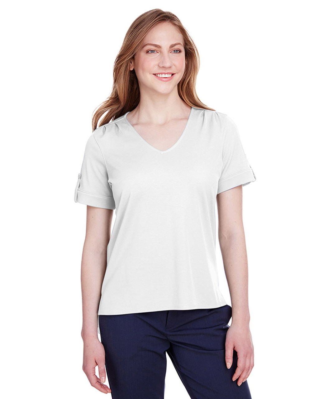 White - DG20WB Devon & Jones Ladies' CrownLux Performance™ Plaited Rolled-Sleeve Top | Blankclothing.ca
