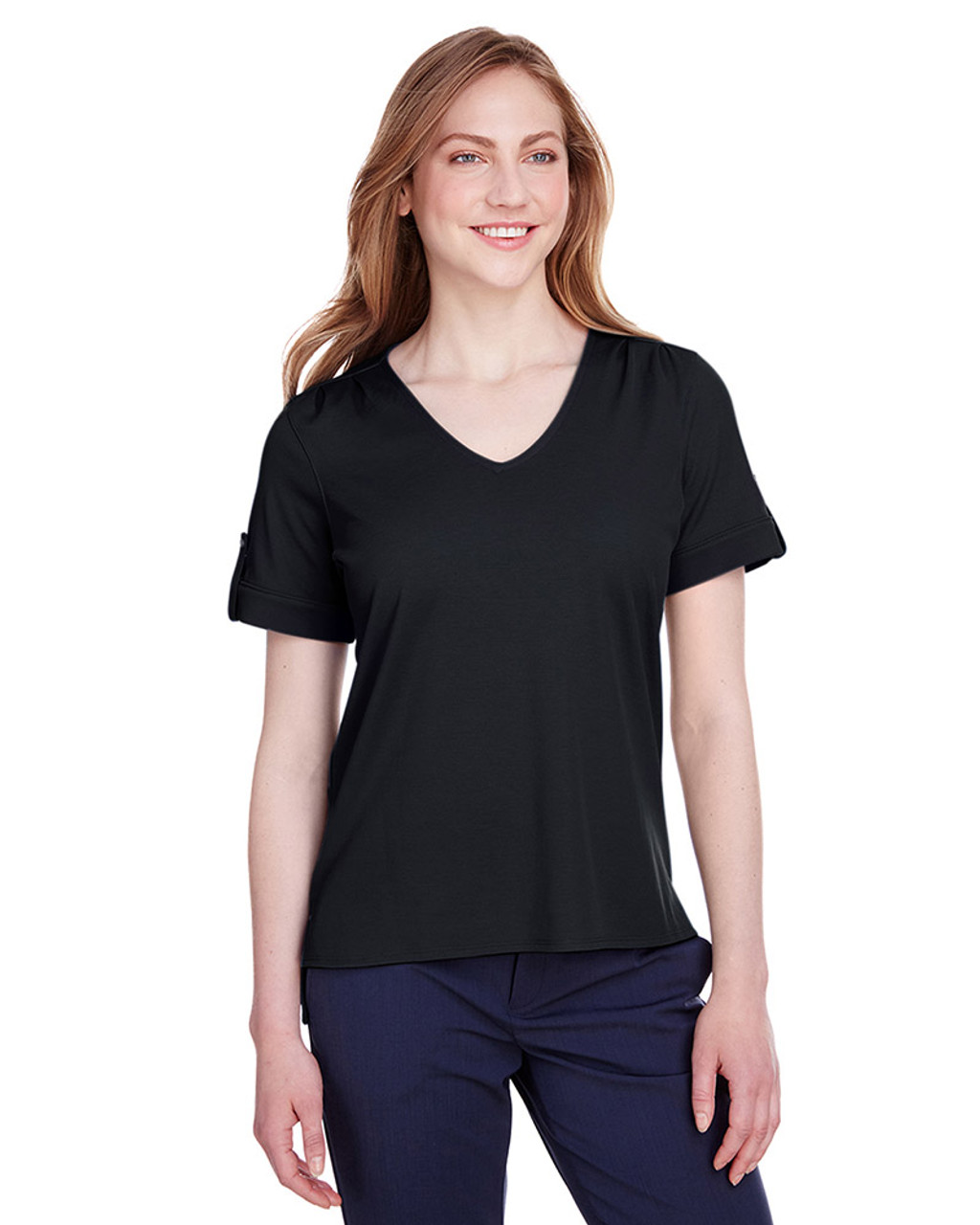 Black - DG20WB Devon & Jones Ladies' CrownLux Performance™ Plaited Rolled-Sleeve Top | Blankclothing.ca