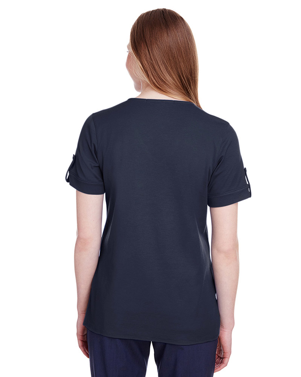 Navy - back, DG20WB Devon & Jones Ladies' CrownLux Performance™ Plaited Rolled-Sleeve Top | Blankclothing.ca
