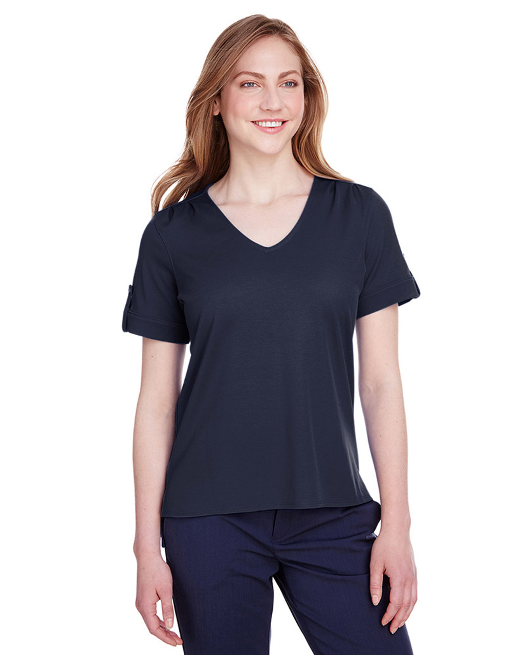 Navy - DG20WB Devon & Jones Ladies' CrownLux Performance™ Plaited Rolled-Sleeve Top | Blankclothing.ca
