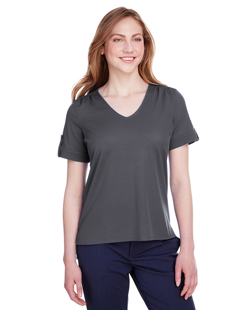Graphite - DG20WB Devon & Jones Ladies' CrownLux Performance™ Plaited Rolled-Sleeve Top | Blankclothing.ca