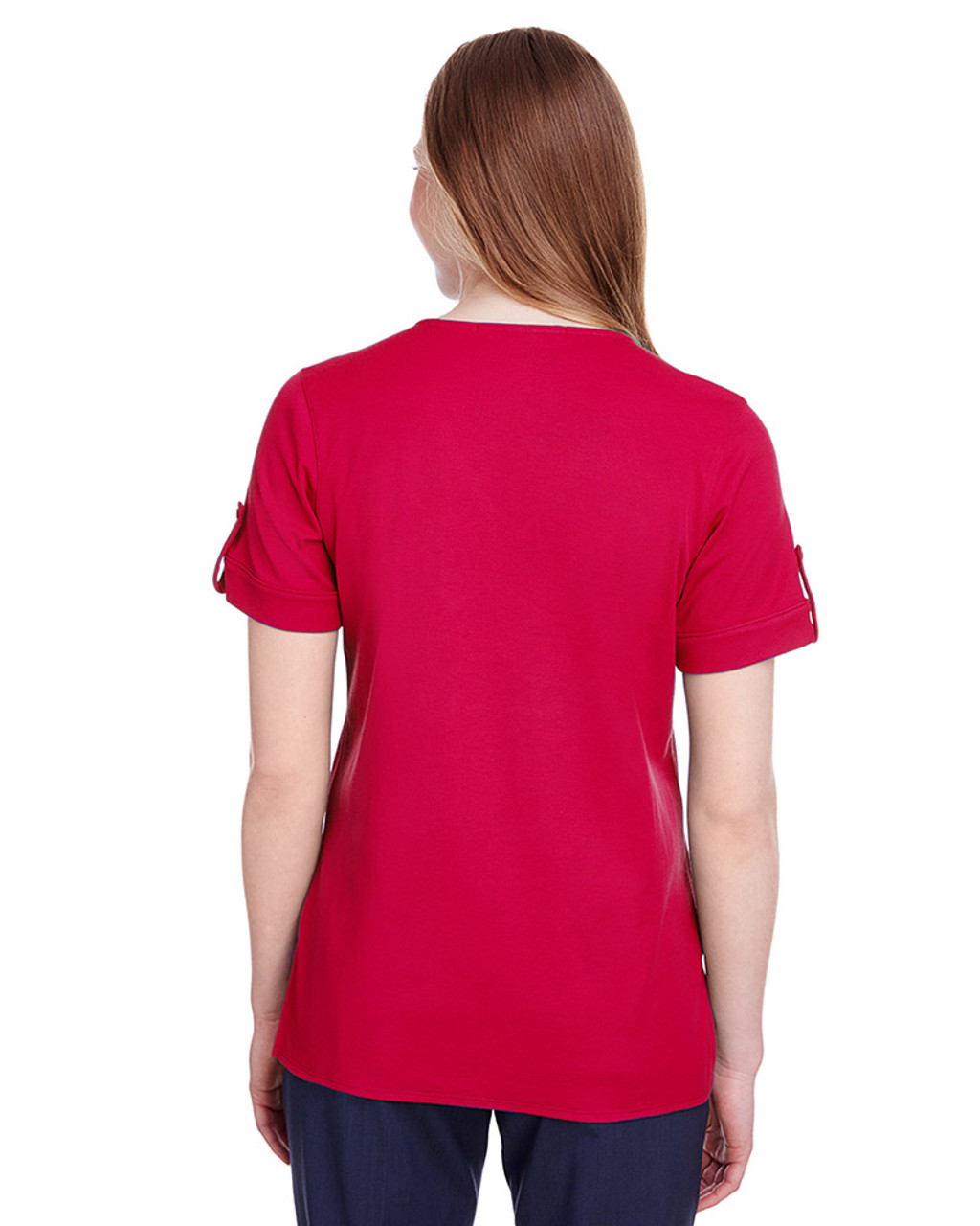 Red - back, DG20WB Devon & Jones Ladies' CrownLux Performance™ Plaited Rolled-Sleeve Top | Blankclothing.ca