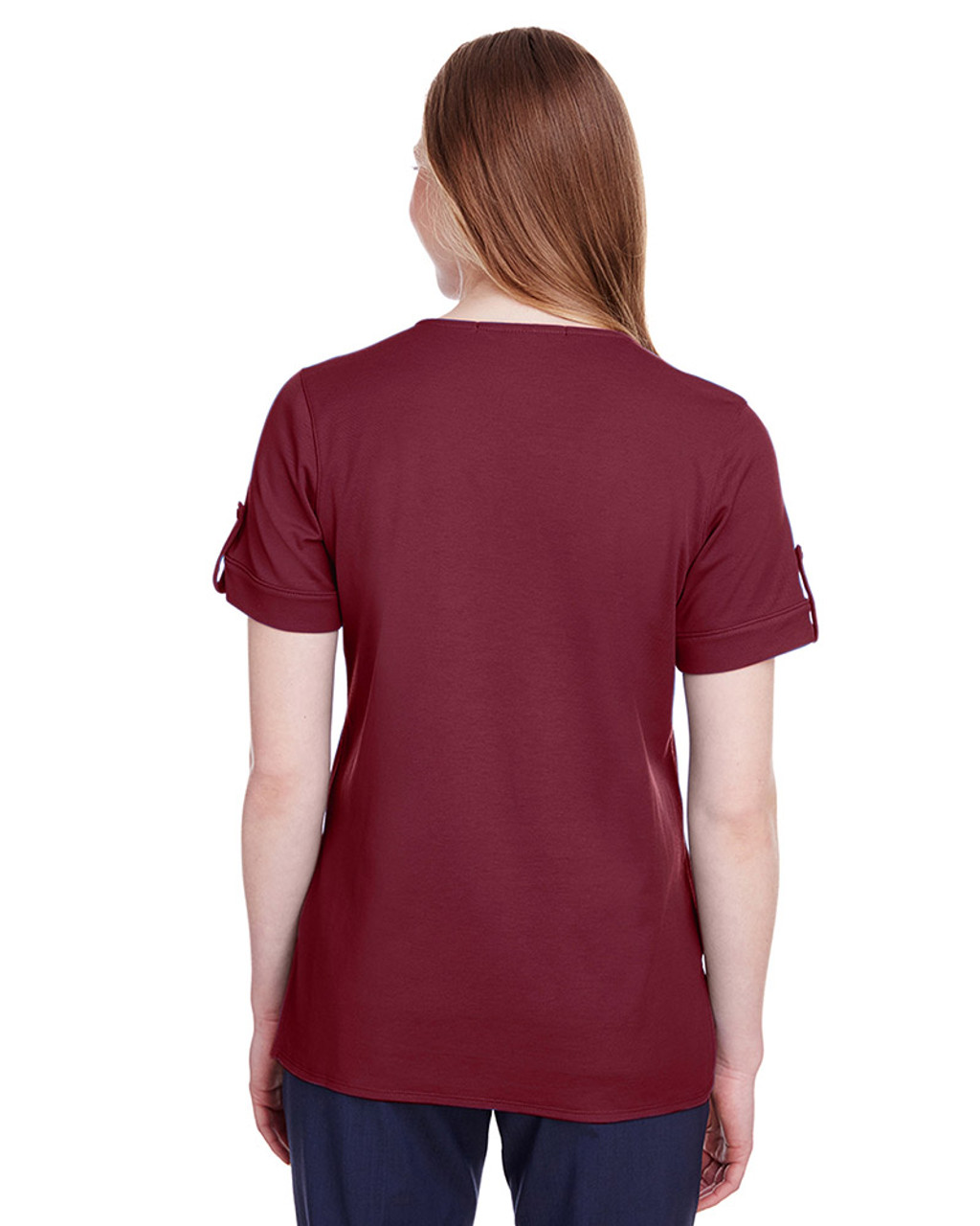 Burgundy - back, DG20WB Devon & Jones Ladies' CrownLux Performance™ Plaited Rolled-Sleeve Top | Blankclothing.ca