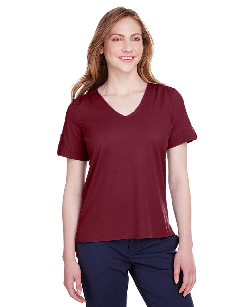 Burgundy - DG20WB Devon & Jones Ladies' CrownLux Performance™ Plaited Rolled-Sleeve Top | Blankclothing.ca