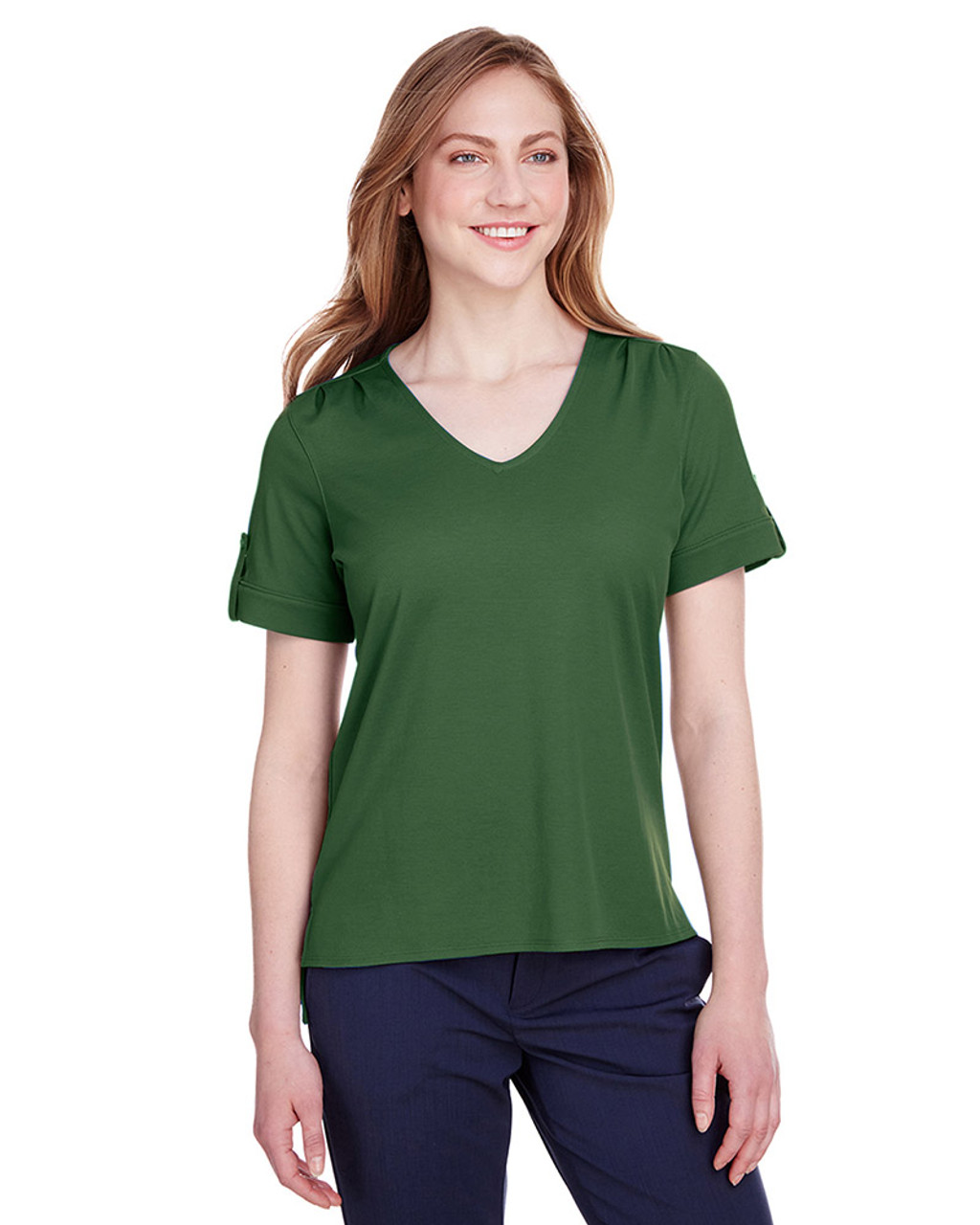 Forest - DG20WB Devon & Jones Ladies' CrownLux Performance™ Plaited Rolled-Sleeve Top | Blankclothing.ca