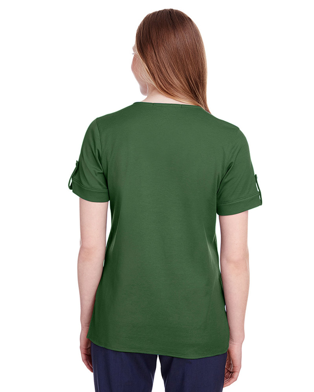 Forest - back, DG20WB Devon & Jones Ladies' CrownLux Performance™ Plaited Rolled-Sleeve Top | Blankclothing.ca
