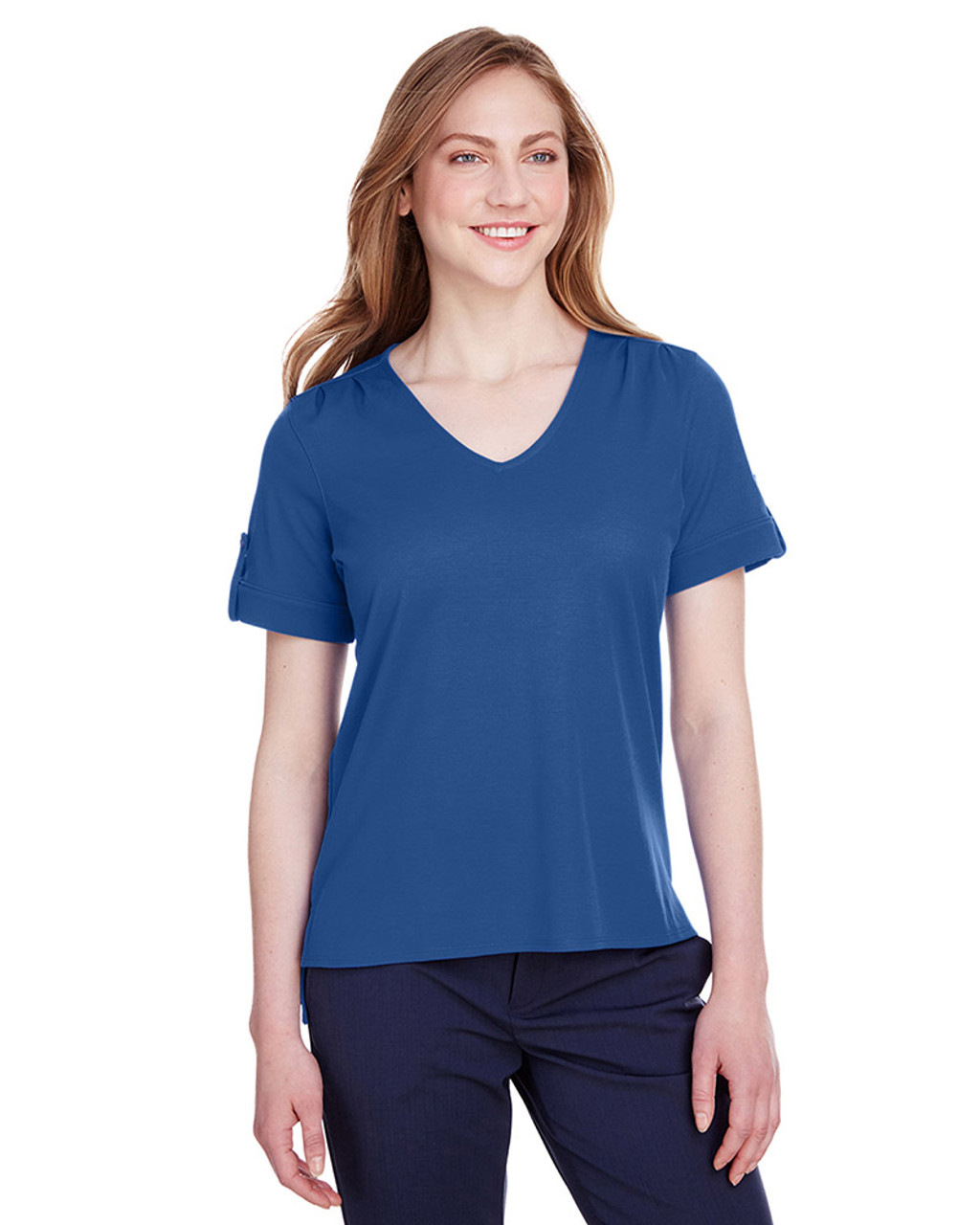 True Royal - DG20WB Devon & Jones Ladies' CrownLux Performance™ Plaited Rolled-Sleeve Top | Blankclothing.ca