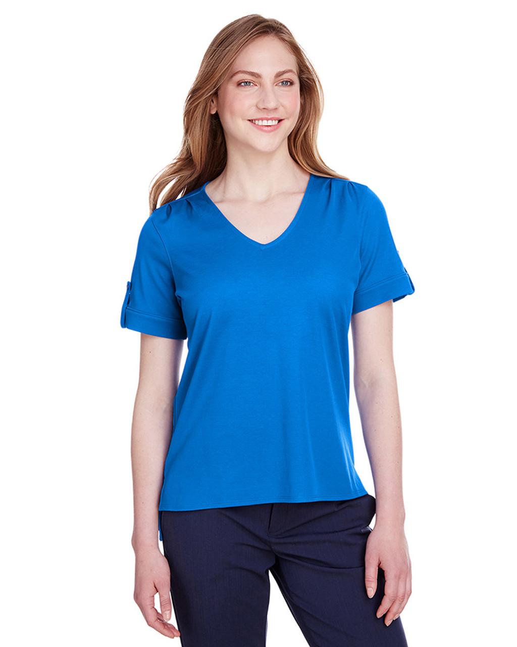 French Blue - DG20WB Devon & Jones Ladies' CrownLux Performance™ Plaited Rolled-Sleeve Top | Blankclothing.ca