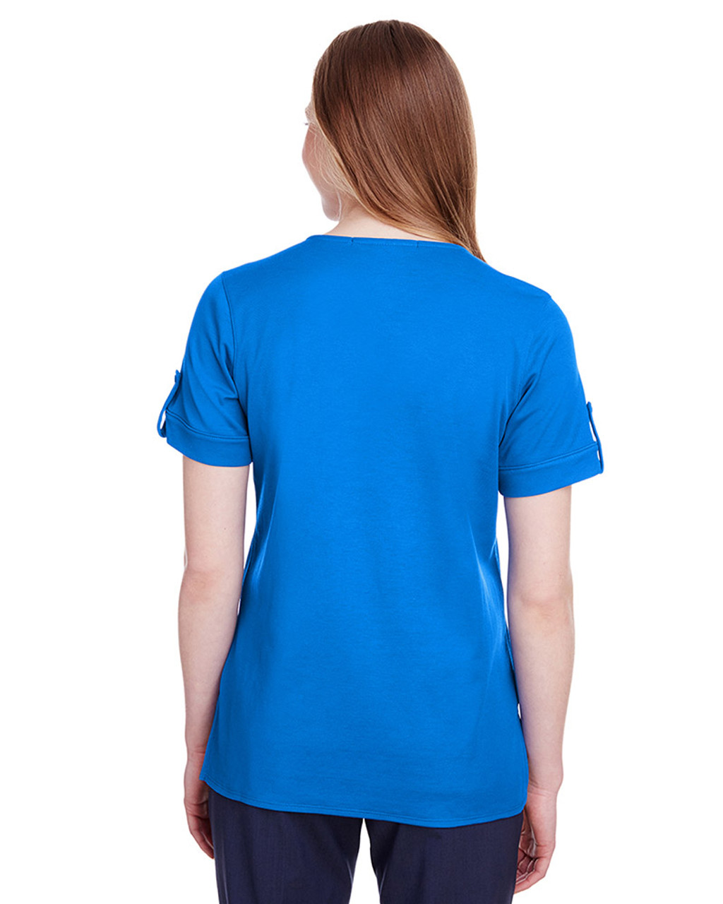 French Blue - back, DG20WB Devon & Jones Ladies' CrownLux Performance™ Plaited Rolled-Sleeve Top | Blankclothing.ca