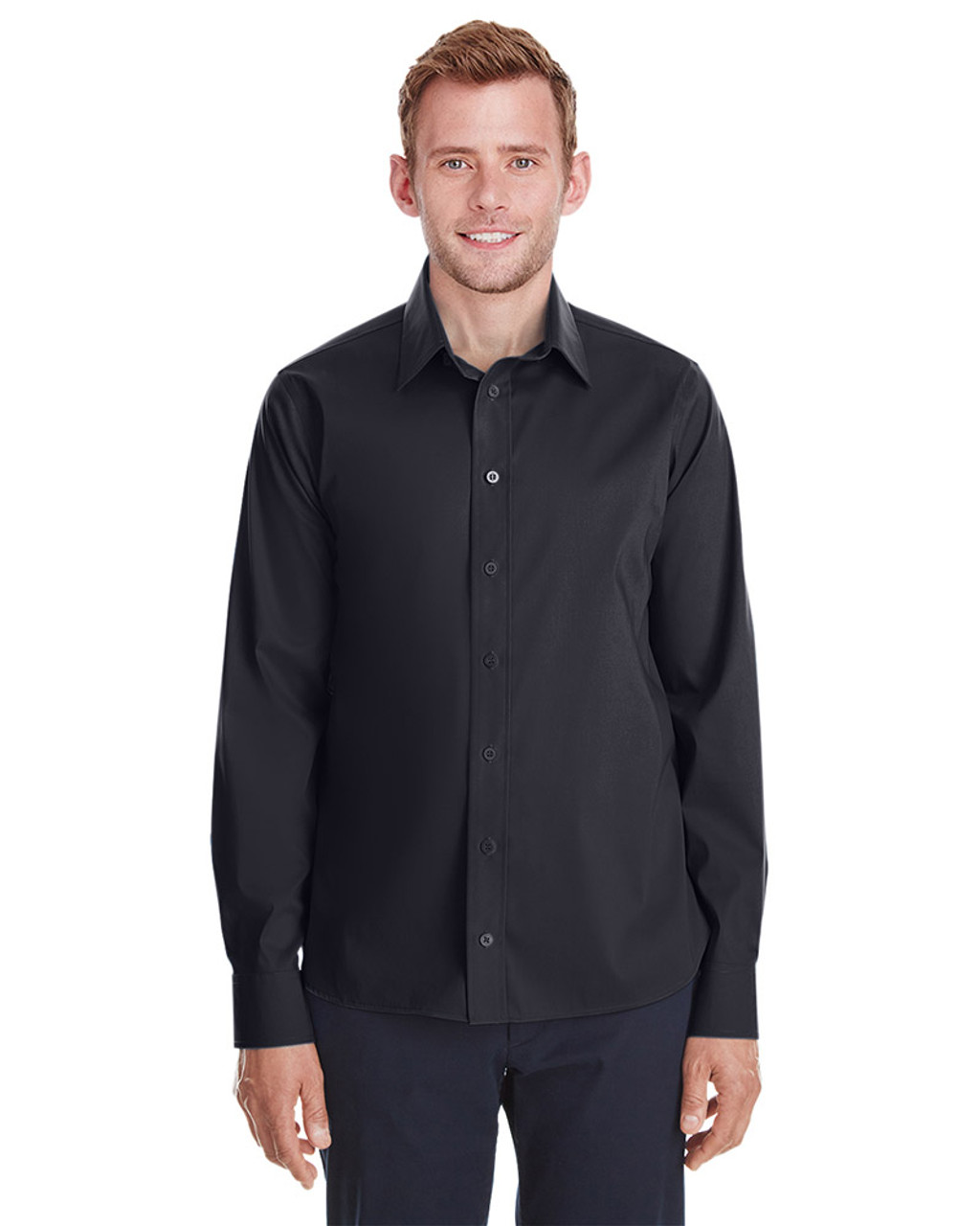 Black - DG561 Devon & Jones Men's Crown Collection™ Stretch Broadcloth Untucked Shirt | Blankclothing.ca