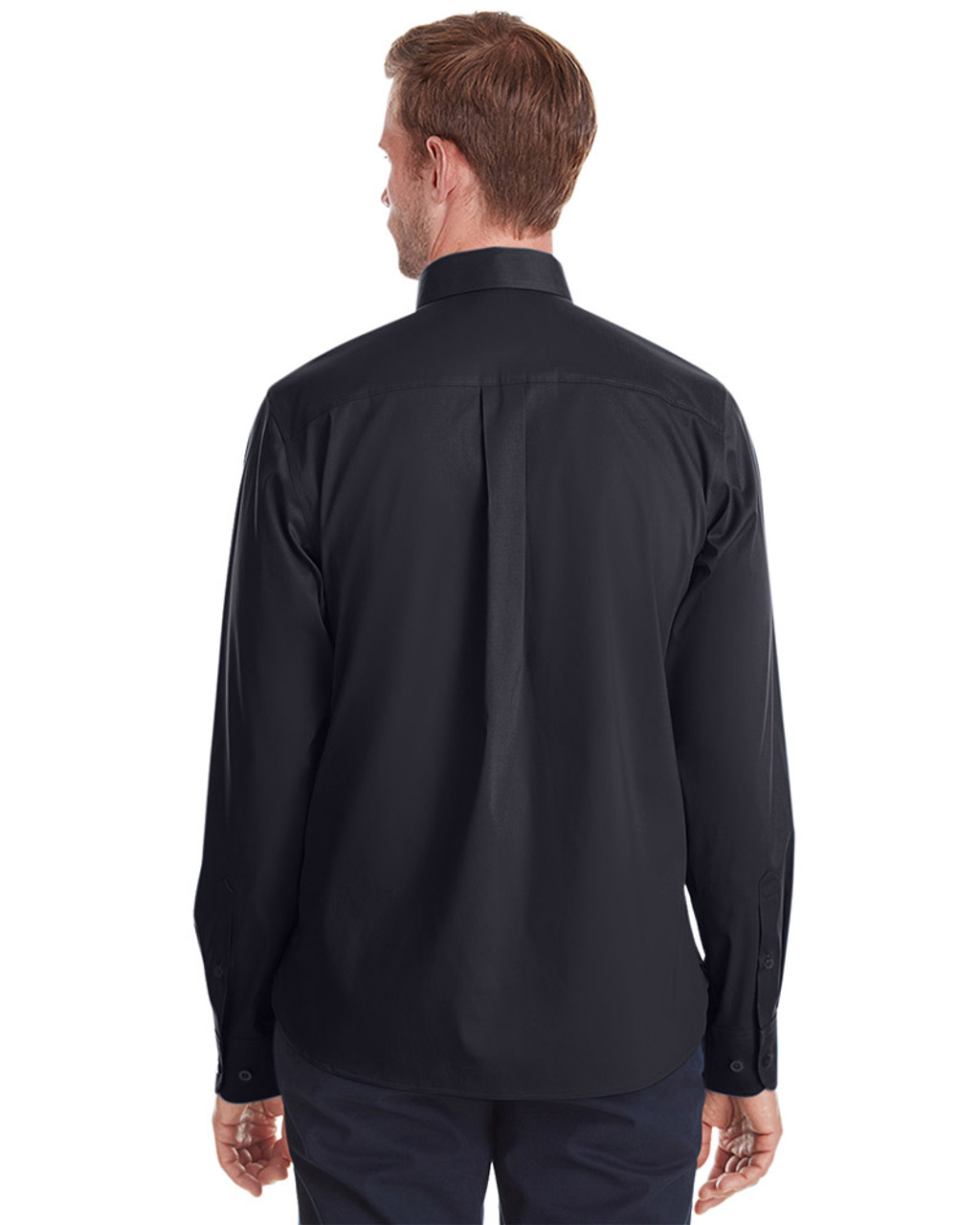 Black - back, DG561 Devon & Jones Men's Crown Collection™ Stretch Broadcloth Untucked Shirt | Blankclothing.ca