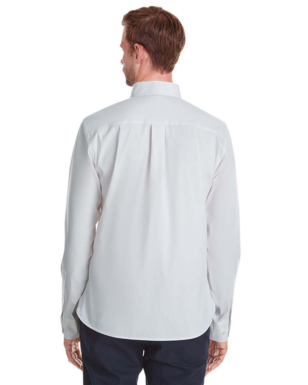 White - back, DG561 Devon & Jones Men's Crown Collection™ Stretch Broadcloth Untucked Shirt | Blankclothing.ca