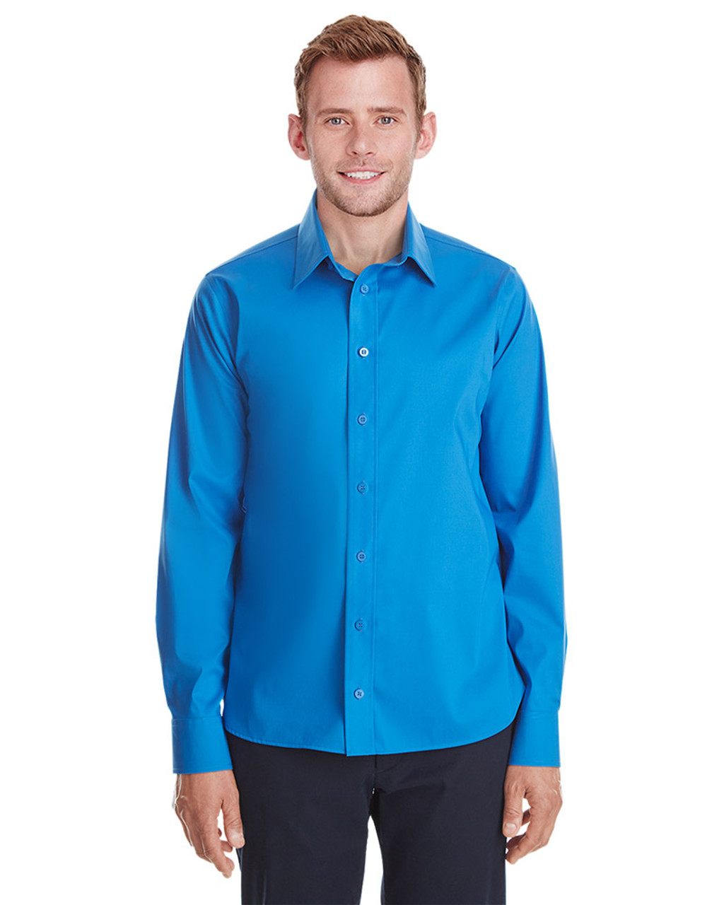 French Blue - DG561 Devon & Jones Men's Crown Collection™ Stretch Broadcloth Untucked Shirt | Blankclothing.ca