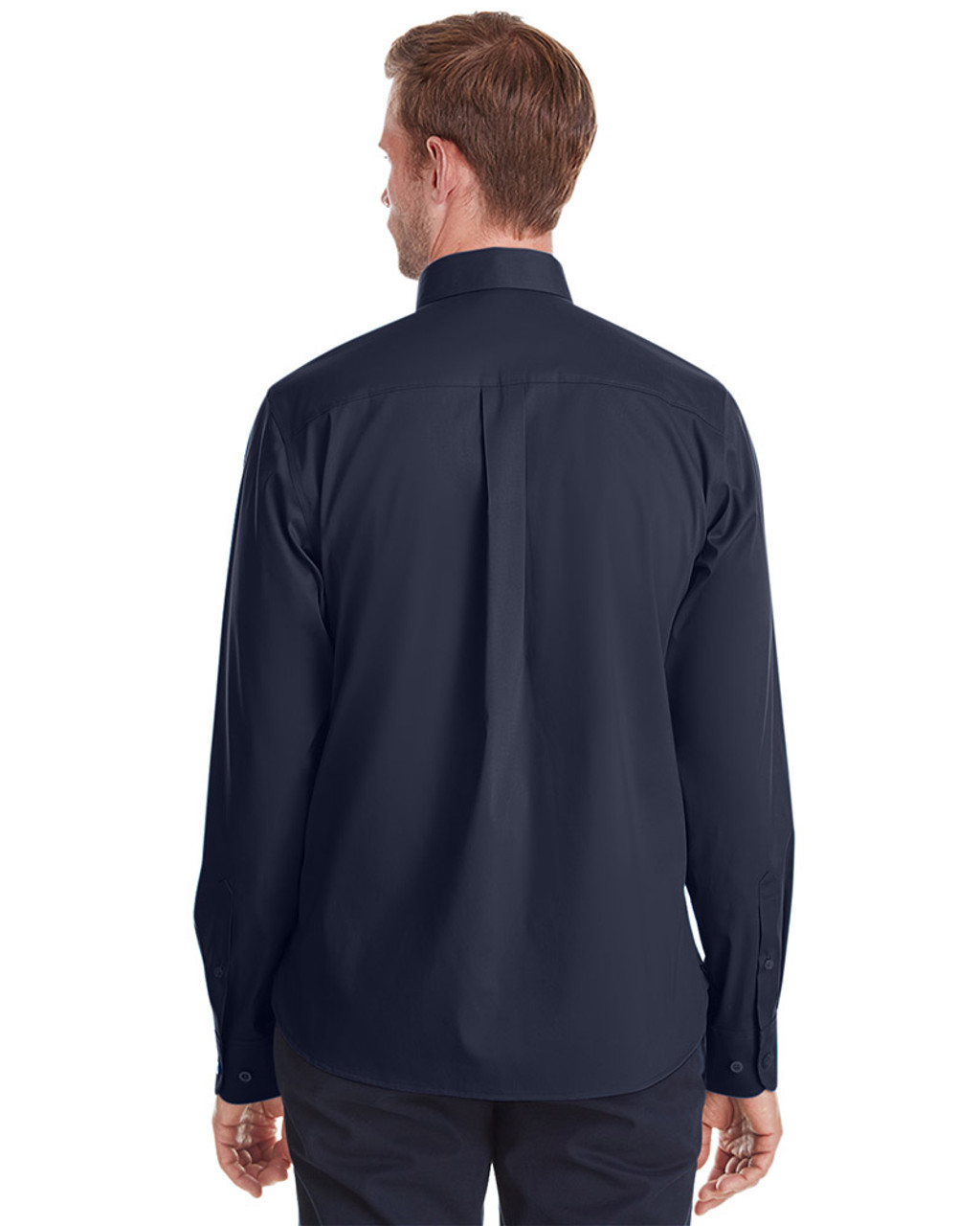 Navy - back, DG561 Devon & Jones Men's Crown Collection™ Stretch Broadcloth Untucked Shirt | Blankclothing.ca
