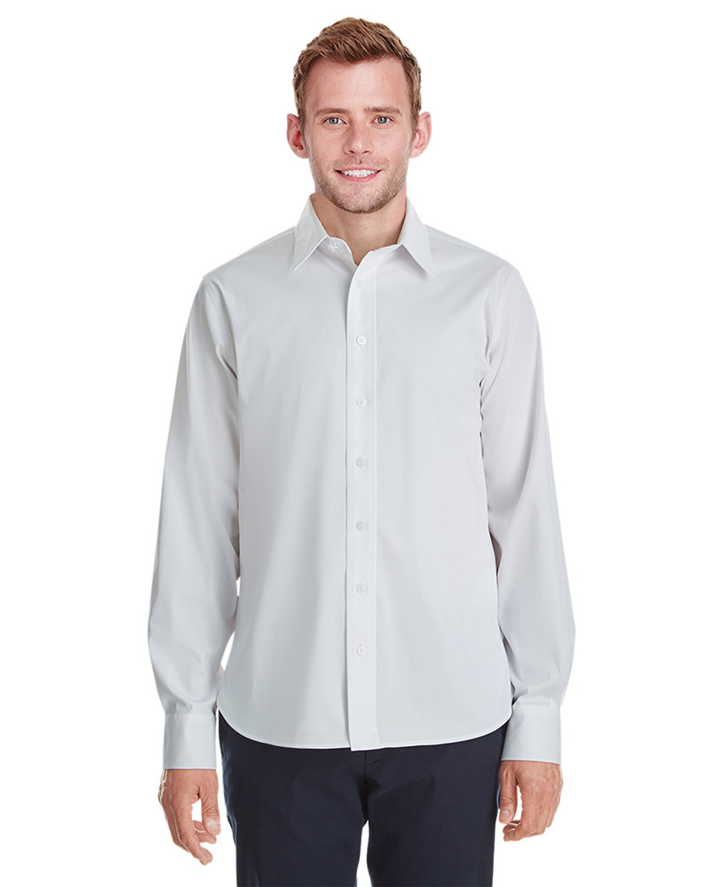 White - DG561 Devon & Jones Men's Crown Collection™ Stretch Broadcloth Untucked Shirt | Blankclothing.ca