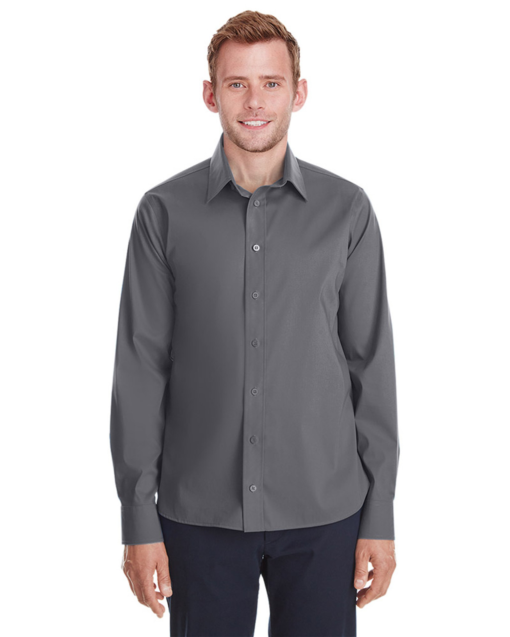 Graphite - DG561 Devon & Jones Men's Crown Collection™ Stretch Broadcloth Untucked Shirt | Blankclothing.ca