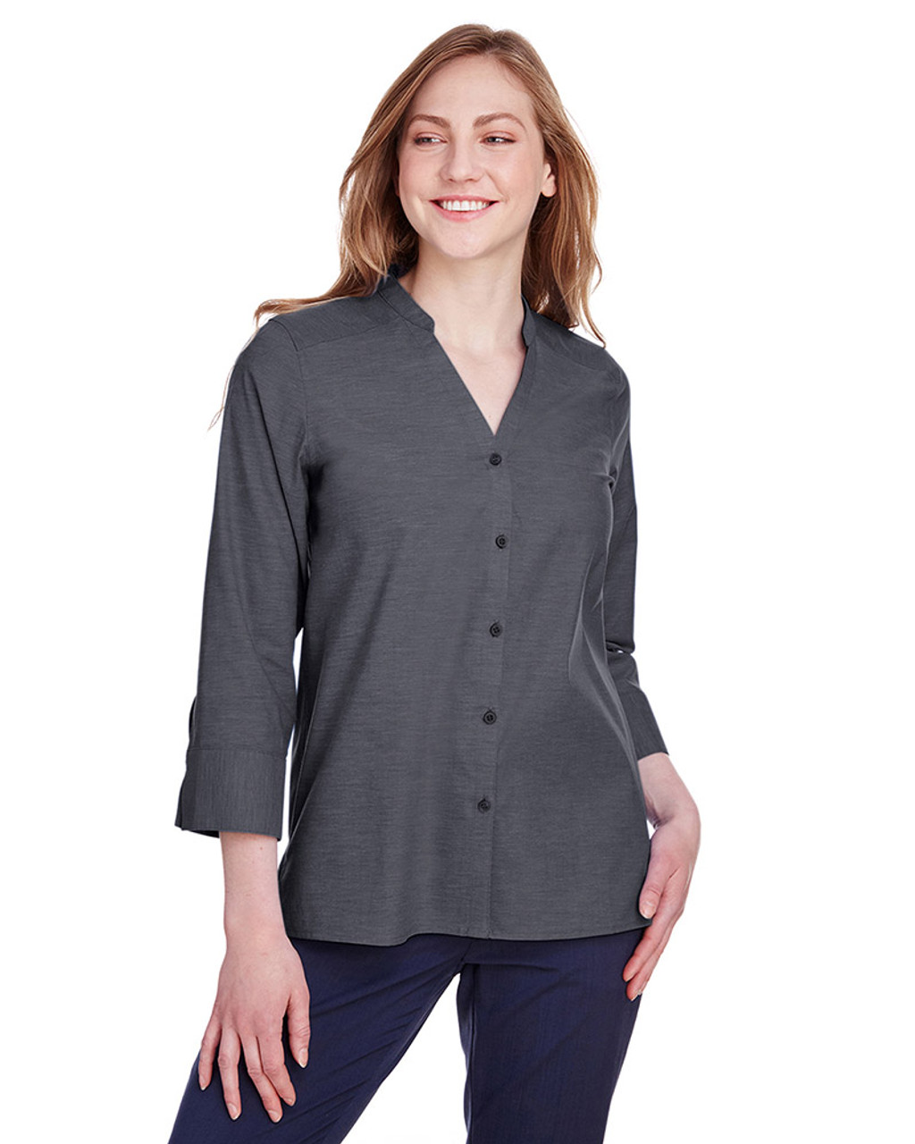 Black - DG562W Devon & Jones Ladies' Crown Collection™ Stretch Pinpoint Chambray 3/4 Sleeve Blouse | Blankclothing.ca