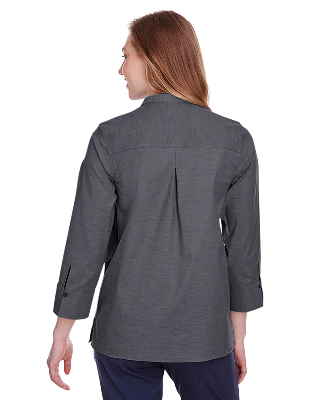 Black - black, DG562W Devon & Jones Ladies' Crown Collection™ Stretch Pinpoint Chambray 3/4 Sleeve Blouse | Blankclothing.ca