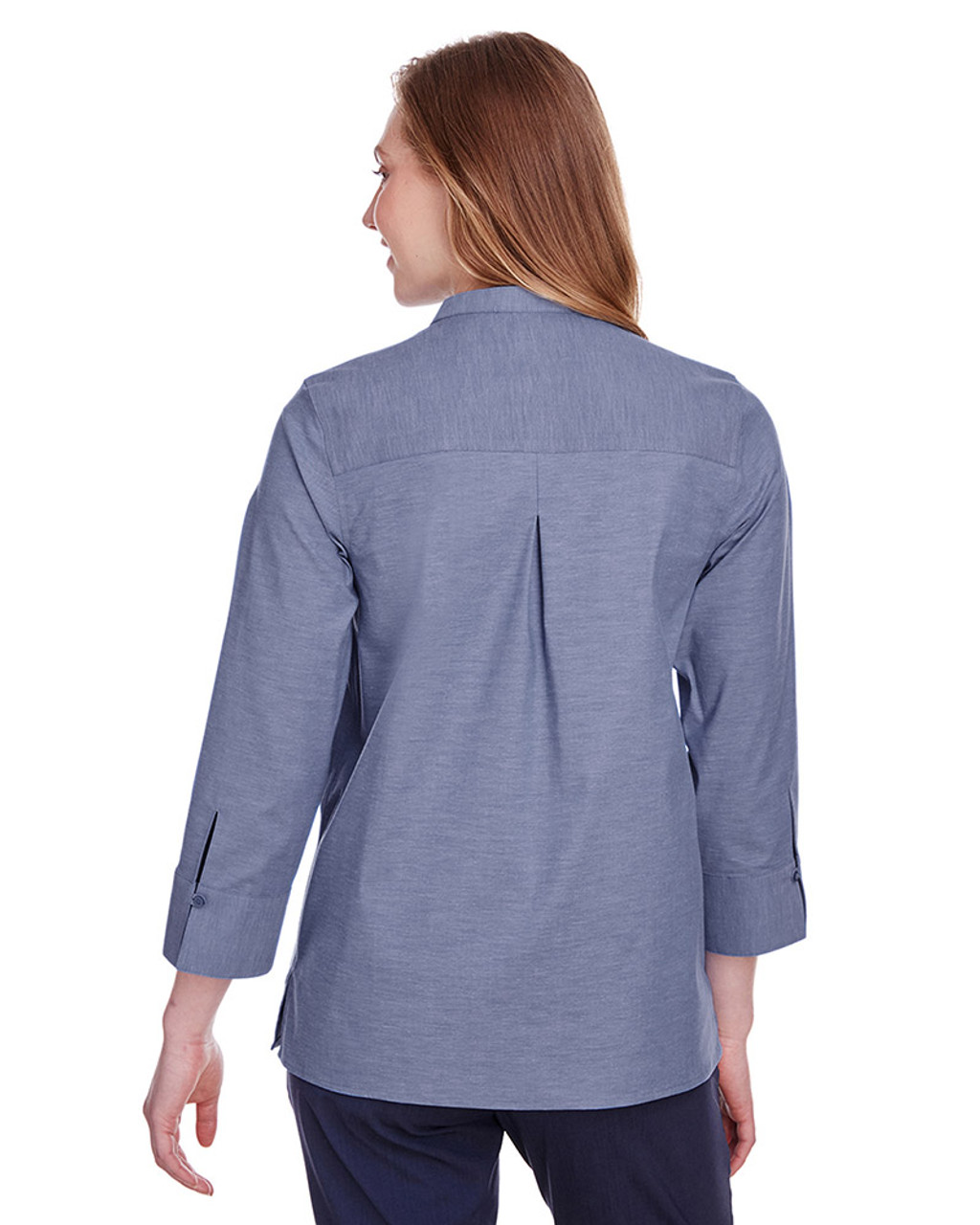 Navy - black, DG562W Devon & Jones Ladies' Crown Collection™ Stretch Pinpoint Chambray 3/4 Sleeve Blouse | Blankclothing.ca