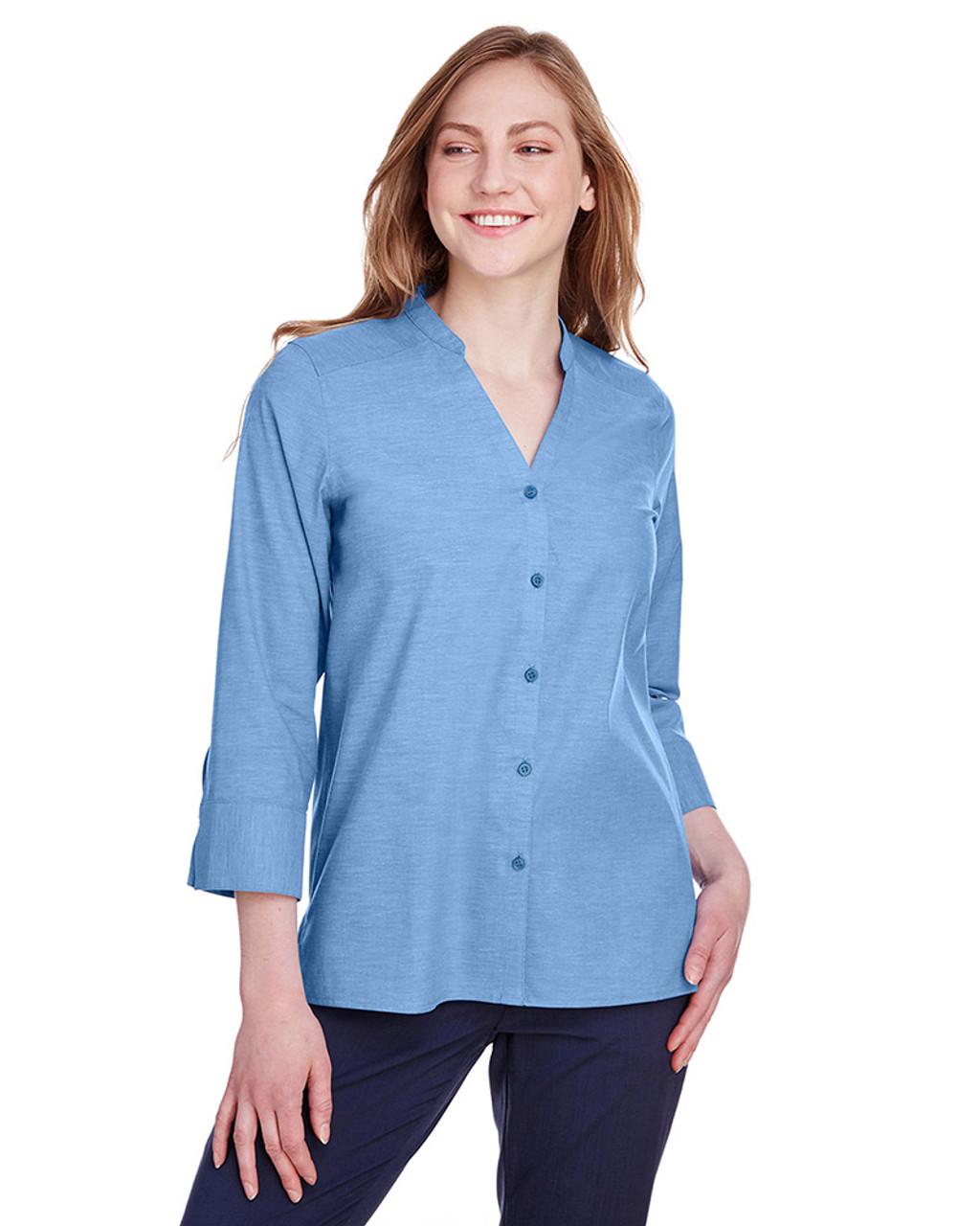 French Blue - DG562W Devon & Jones Ladies' Crown Collection™ Stretch Pinpoint Chambray 3/4 Sleeve Blouse | Blankclothing.ca