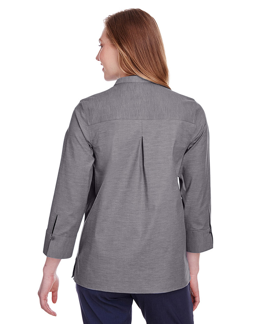 Graphite - black, DG562W Devon & Jones Ladies' Crown Collection™ Stretch Pinpoint Chambray 3/4 Sleeve Blouse | Blankclothing.ca