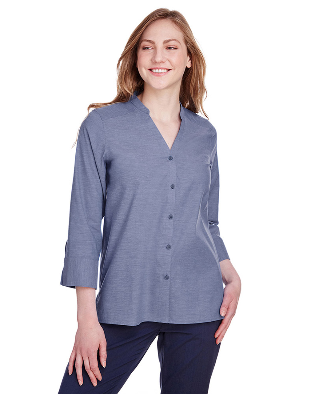 Navy - DG562W Devon & Jones Ladies' Crown Collection™ Stretch Pinpoint Chambray 3/4 Sleeve Blouse | Blankclothing.ca