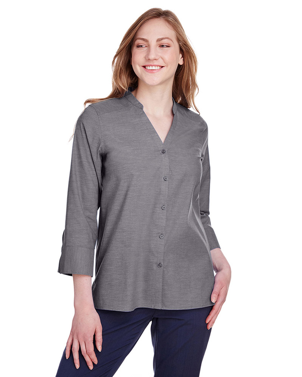 Graphite - DG562W Devon & Jones Ladies' Crown Collection™ Stretch Pinpoint Chambray 3/4 Sleeve Blouse | Blankclothing.ca