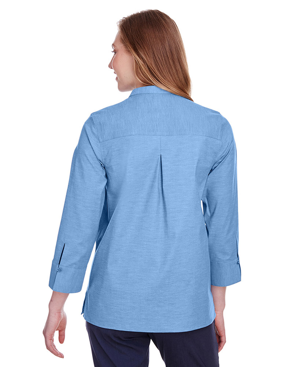 French Blue - black, DG562W Devon & Jones Ladies' Crown Collection™ Stretch Pinpoint Chambray 3/4 Sleeve Blouse | Blankclothing.ca