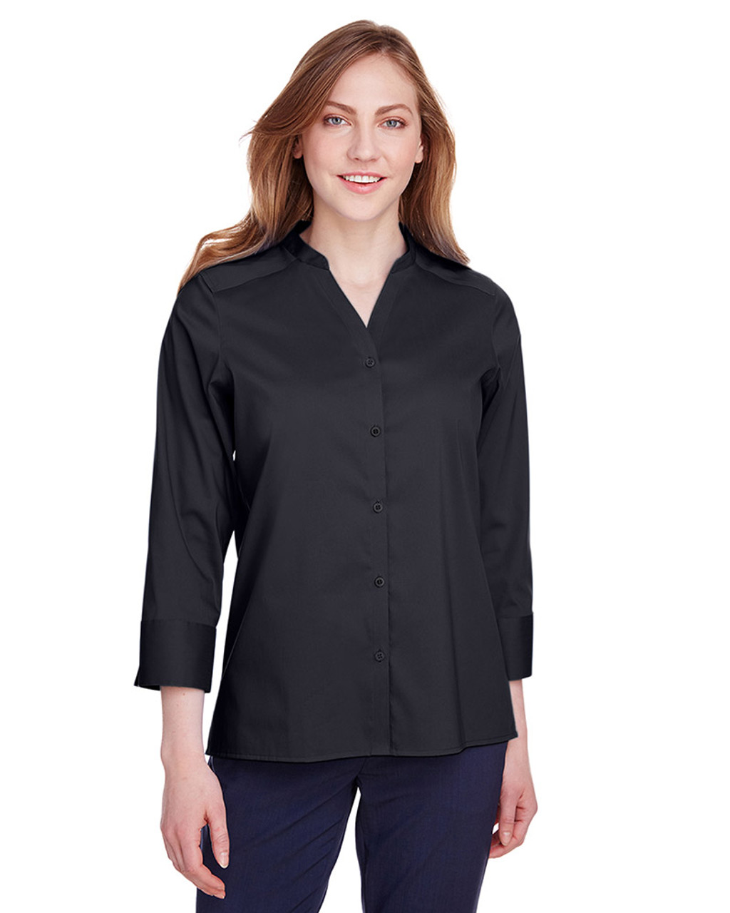 Black - DG560W Devon & Jones Ladies' Crown Collection™ Stretch Broadcloth 3/4 Sleeve Blouse | Blankclothing.ca