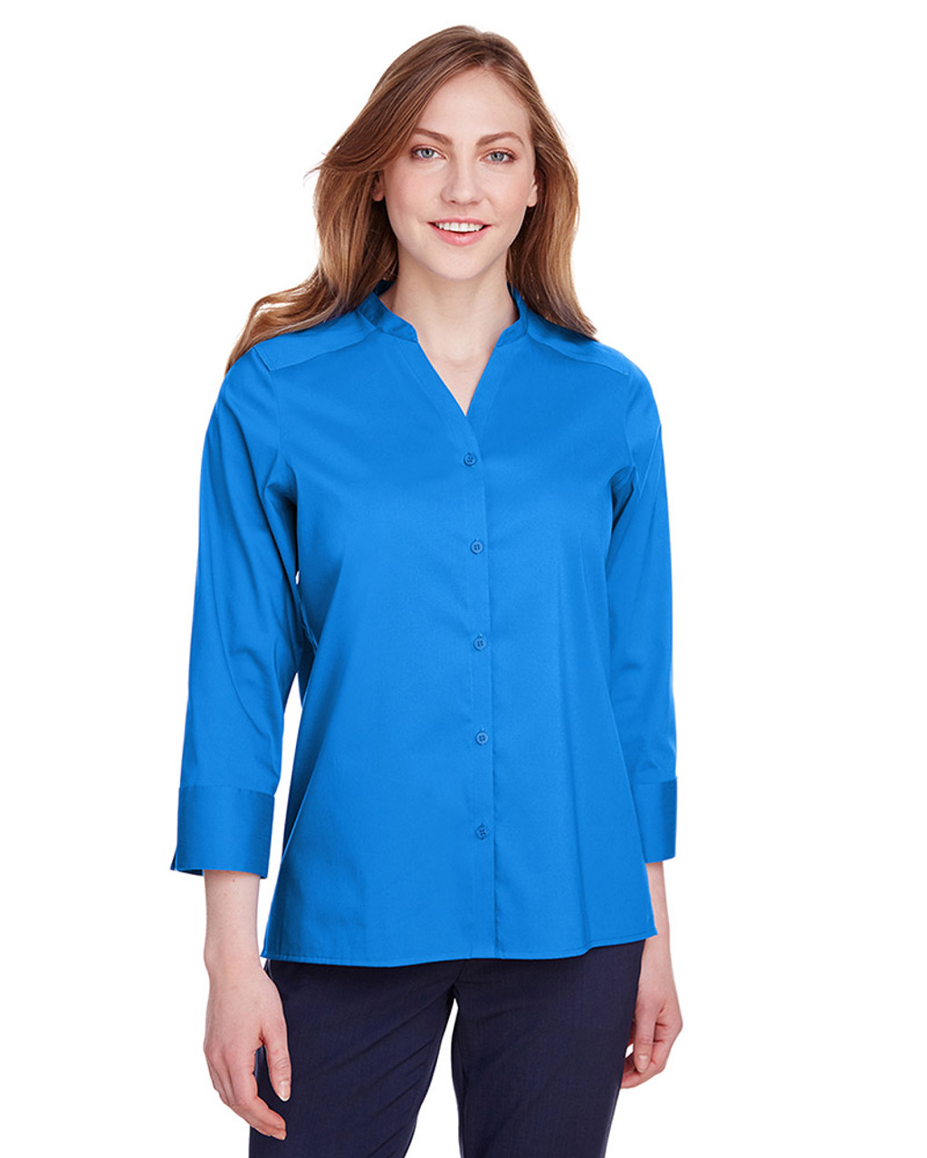 French Blue - back, DG560W Devon & Jones Ladies' Crown Collection™ Stretch Broadcloth 3/4 Sleeve Blouse | Blankclothing.ca