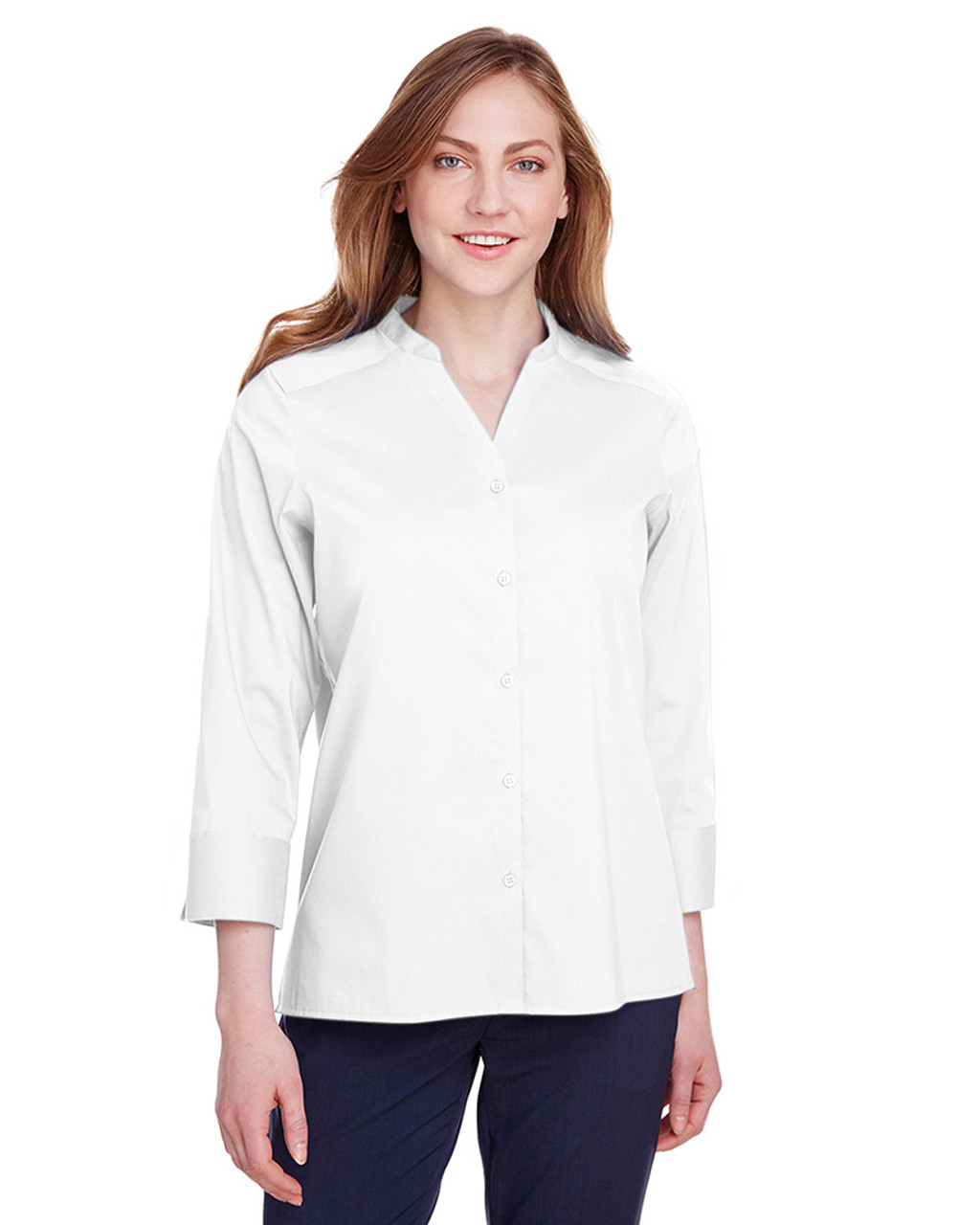 White - DG560W Devon & Jones Ladies' Crown Collection™ Stretch Broadcloth 3/4 Sleeve Blouse | Blankclothing.ca