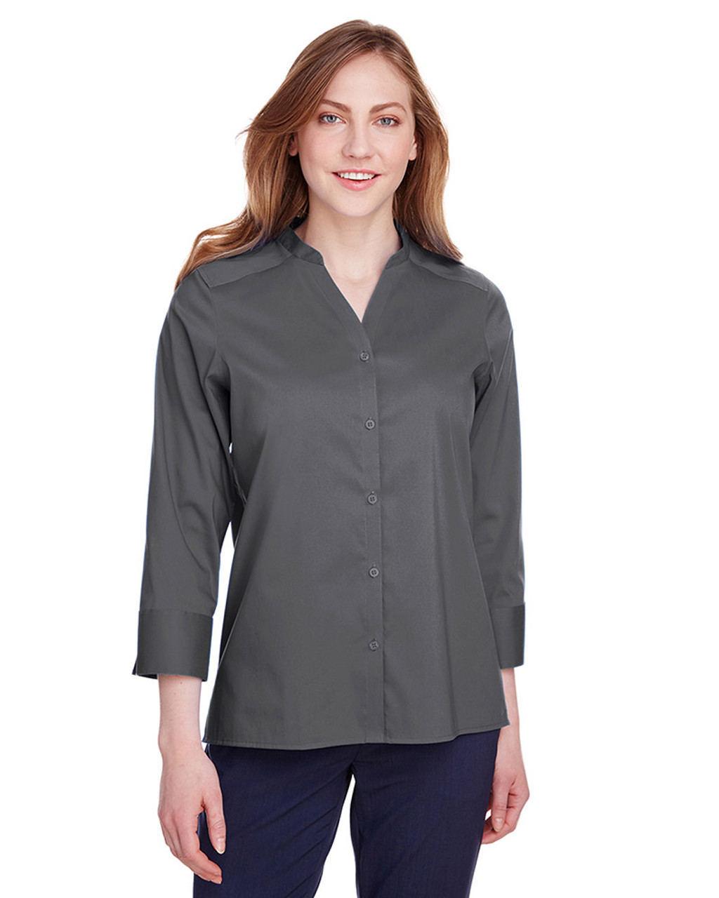 Graphite - DG560W Devon & Jones Ladies' Crown Collection™ Stretch Broadcloth 3/4 Sleeve Blouse | Blankclothing.ca