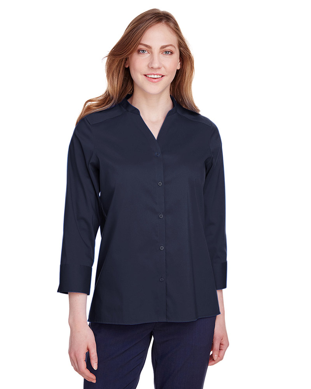 Navy - DG560W Devon & Jones Ladies' Crown Collection™ Stretch Broadcloth 3/4 Sleeve Blouse | Blankclothing.ca