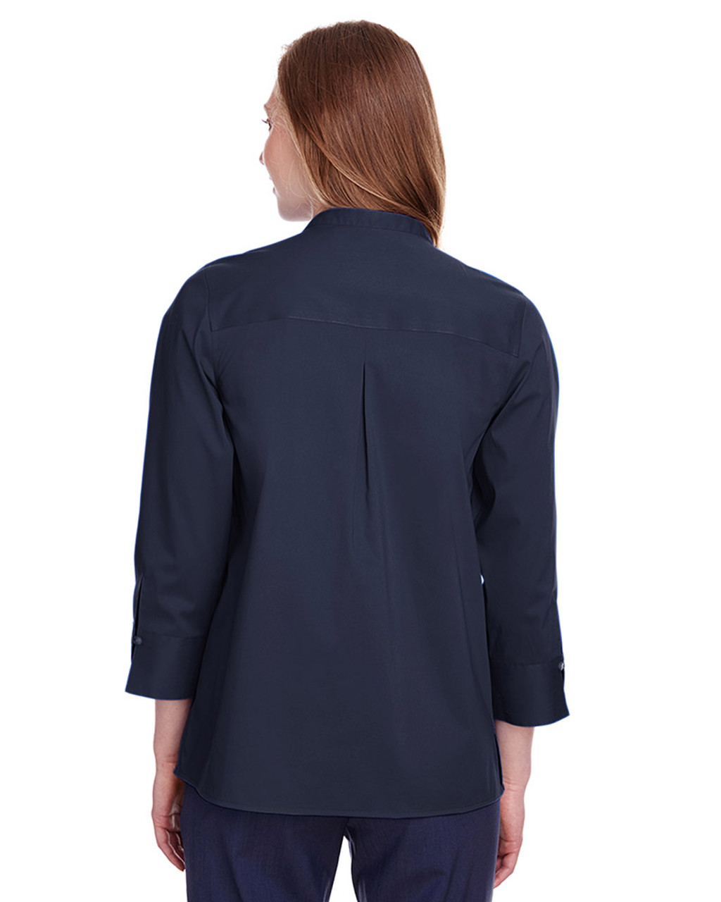 Navy - back, DG560W Devon & Jones Ladies' Crown Collection™ Stretch Broadcloth 3/4 Sleeve Blouse | Blankclothing.ca