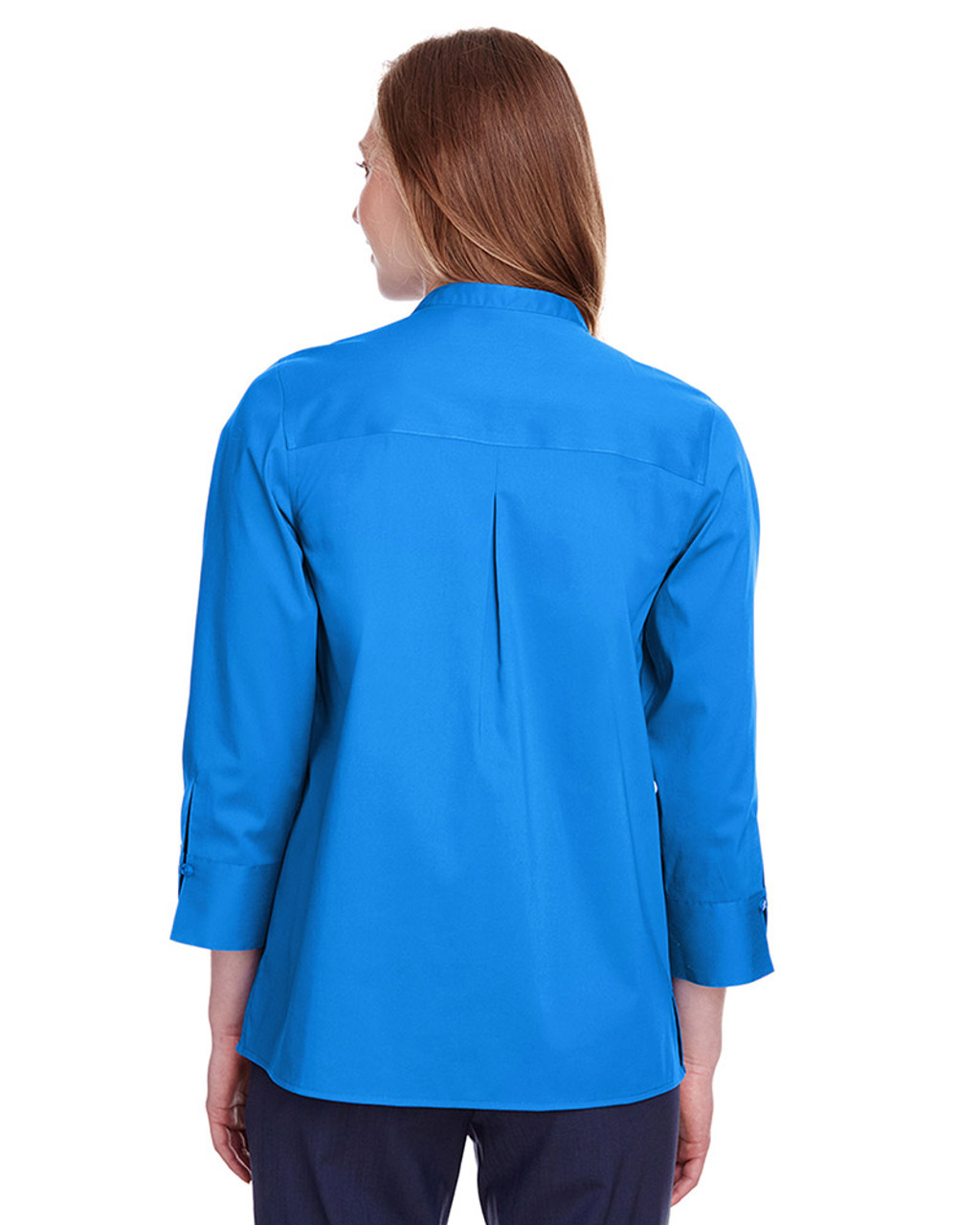 French Blue - DG560W Devon & Jones Ladies' Crown Collection™ Stretch Broadcloth 3/4 Sleeve Blouse | Blankclothing.ca