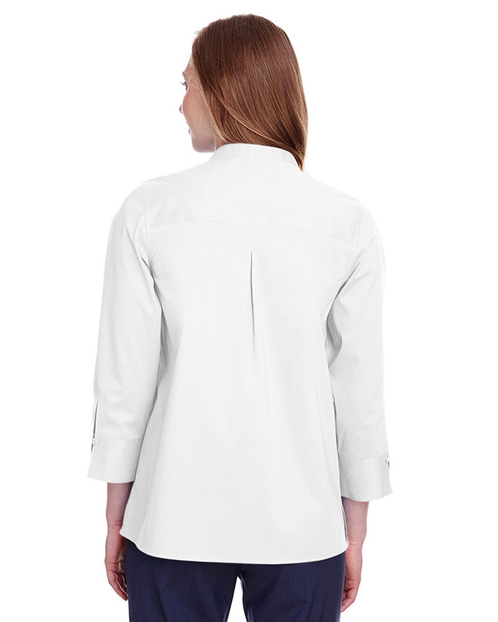 White - back, DG560W Devon & Jones Ladies' Crown Collection™ Stretch Broadcloth 3/4 Sleeve Blouse | Blankclothing.ca