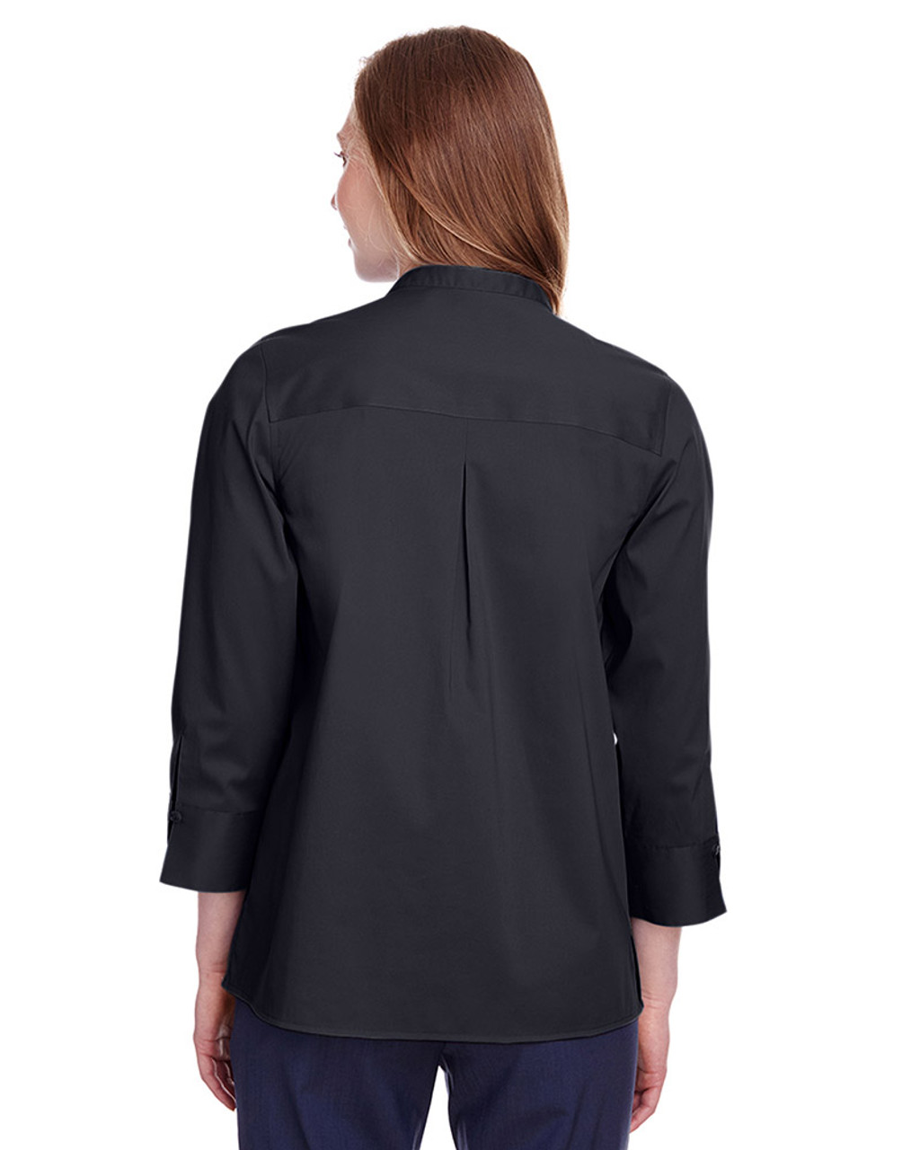 Black - back, DG560W Devon & Jones Ladies' Crown Collection™ Stretch Broadcloth 3/4 Sleeve Blouse | Blankclothing.ca