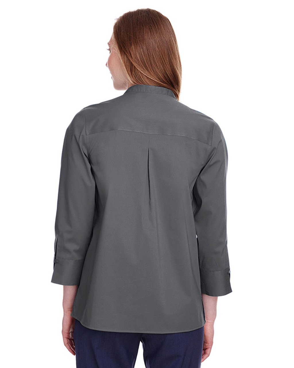 Graphite - back, DG560W Devon & Jones Ladies' Crown Collection™ Stretch Broadcloth 3/4 Sleeve Blouse | Blankclothing.ca