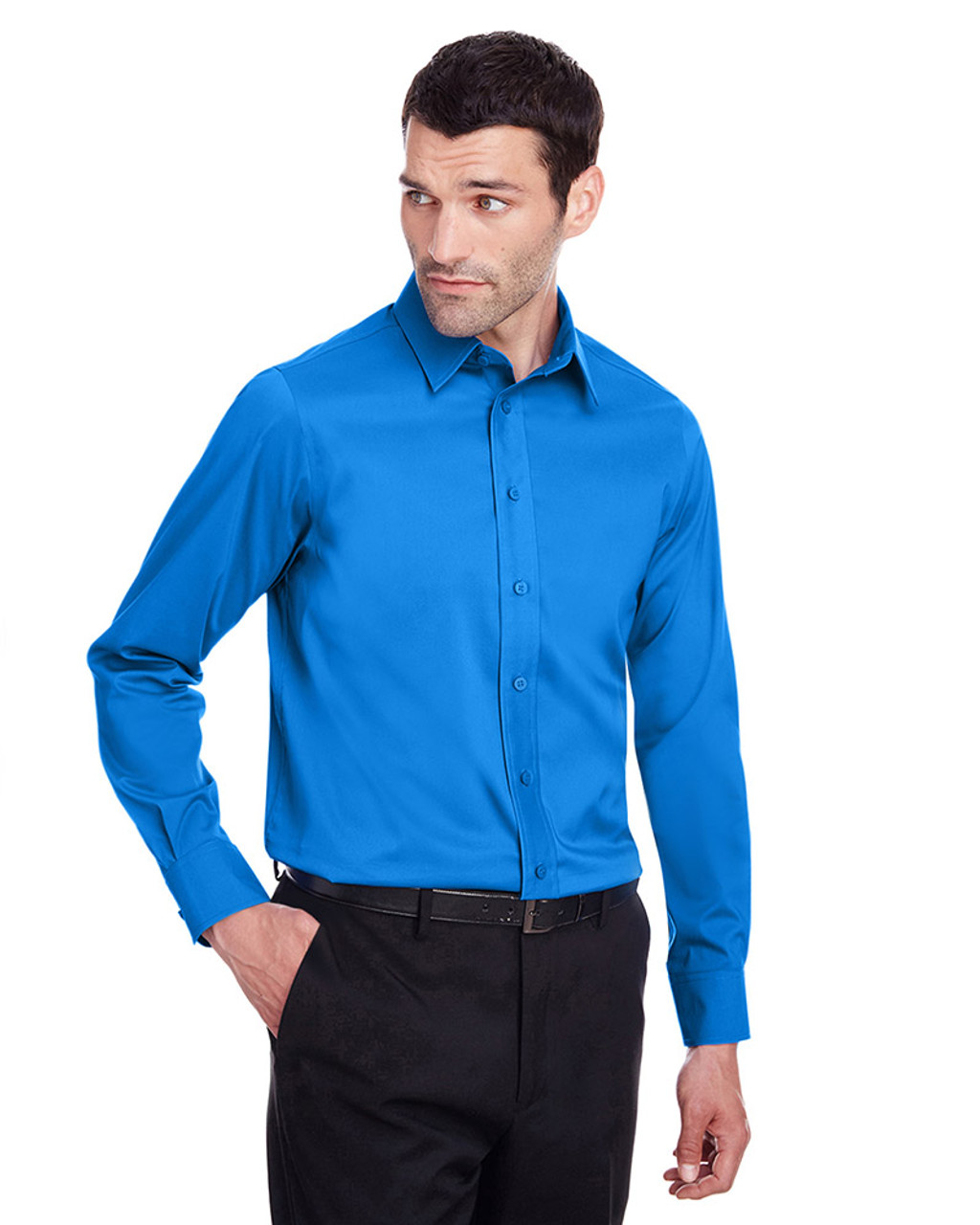 French Blue - DG560 Devon & Jones Men's Crown Collection™ Stretch Broadcloth Slim Fit Shirt | Blankclothing.ca