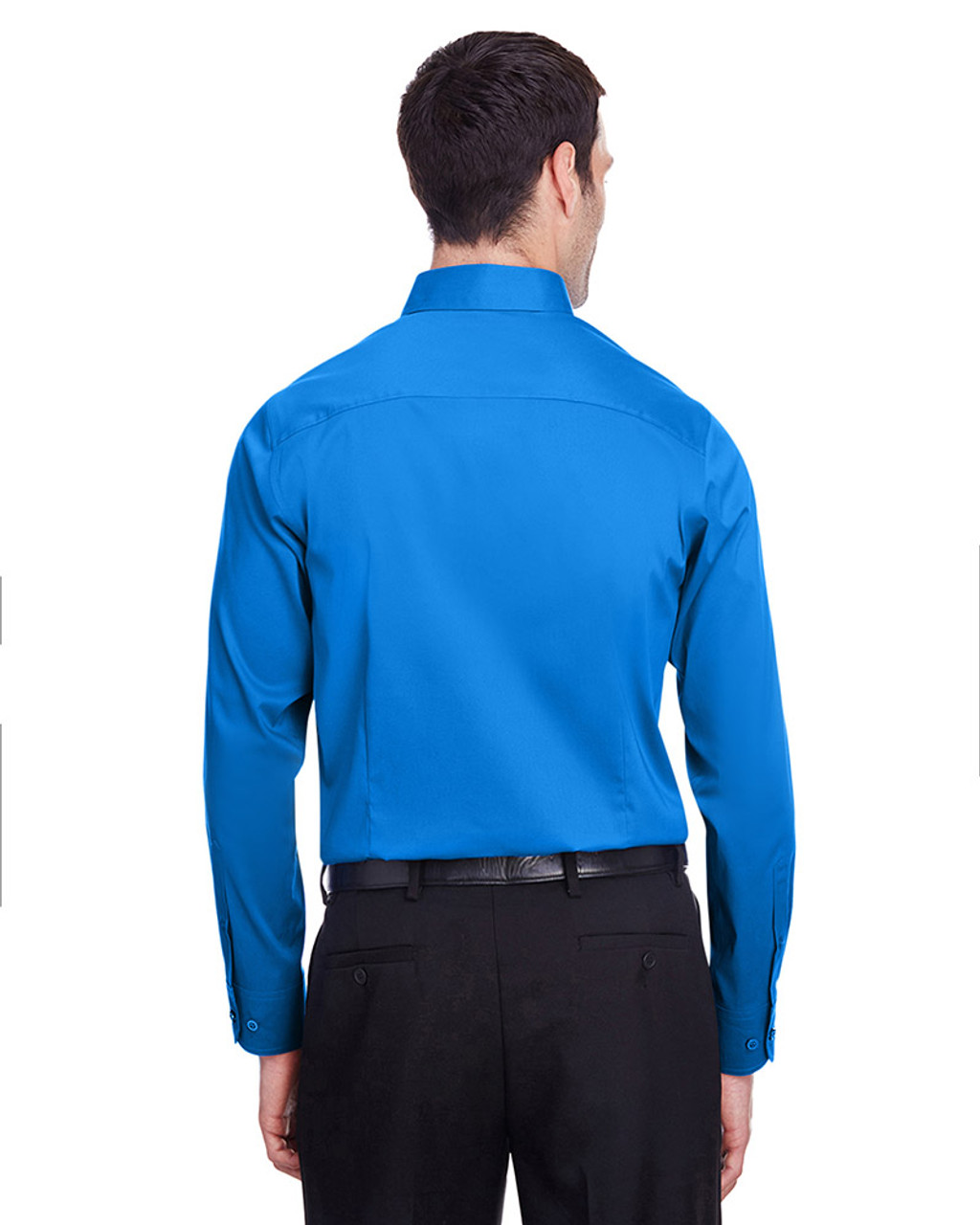 French Blue - back, DG560 Devon & Jones Men's Crown Collection™ Stretch Broadcloth Slim Fit Shirt | Blankclothing.ca