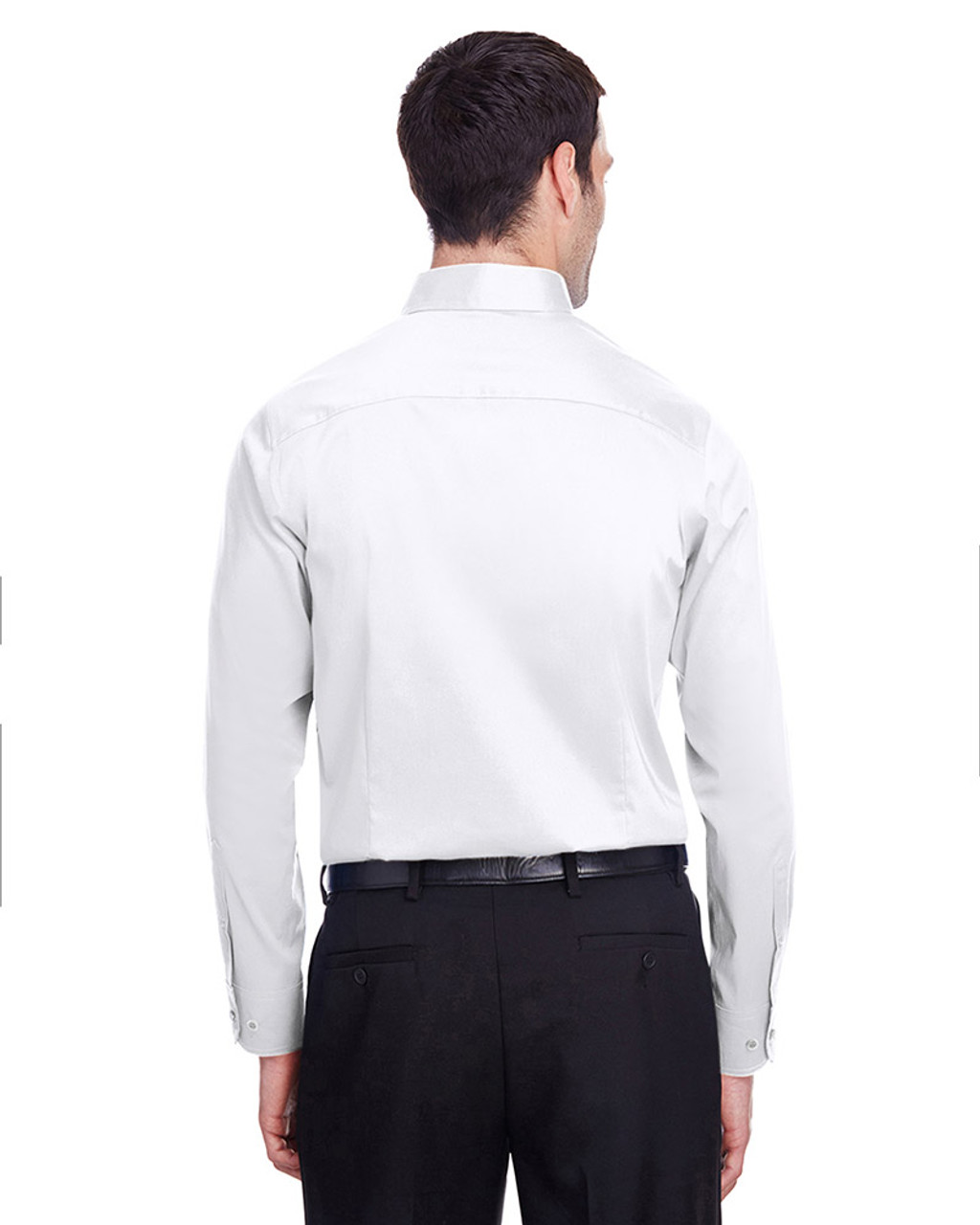 White - back, DG560 Devon & Jones Men's Crown Collection™ Stretch Broadcloth Slim Fit Shirt | Blankclothing.ca