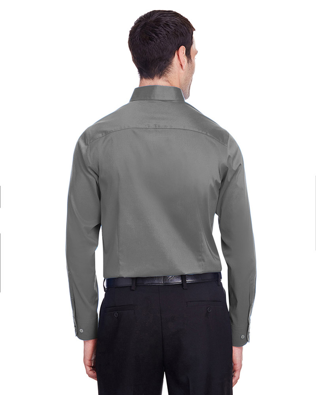 Graphite - back, DG560 Devon & Jones Men's Crown Collection™ Stretch Broadcloth Slim Fit Shirt | Blankclothing.ca