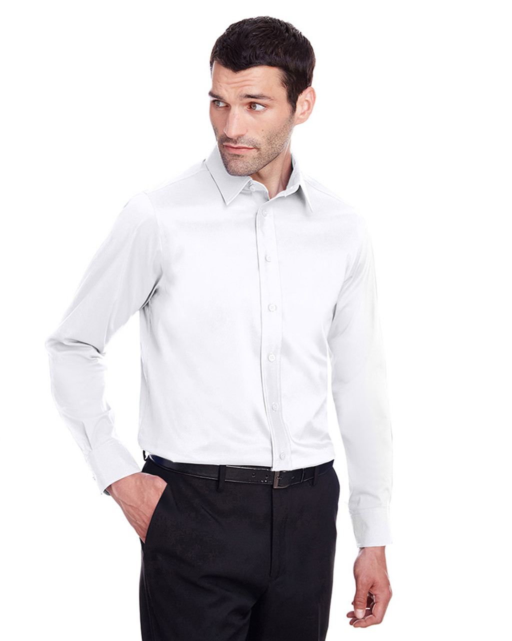 White - DG560 Devon & Jones Men's Crown Collection™ Stretch Broadcloth Slim Fit Shirt | Blankclothing.ca