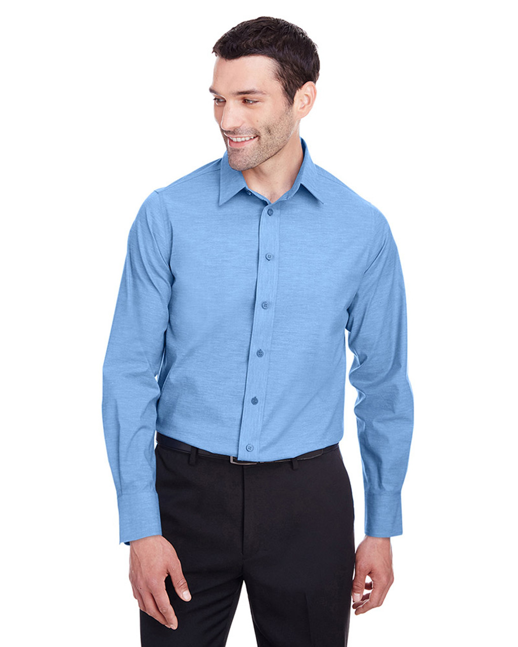 French Blue - DG562 Devon & Jones Men's Crown Collection™ Stretch Pinpoint Chambray Shirt | Blankclothing.ca