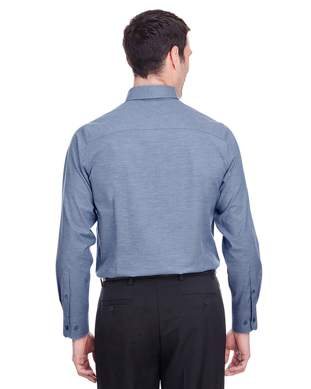 Navy - back, DG562 Devon & Jones Men's Crown Collection™ Stretch Pinpoint Chambray Shirt | Blankclothing.ca