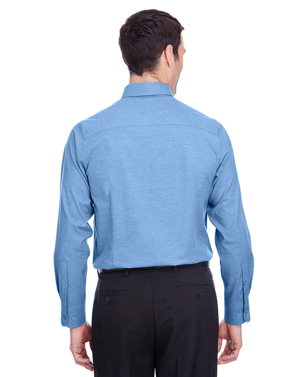 French Blue - back, DG562 Devon & Jones Men's Crown Collection™ Stretch Pinpoint Chambray Shirt | Blankclothing.ca